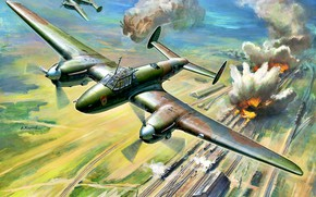Picture smoke, explosions, railroad, USSR, the bombing, PE-2, The second World war, THE RED ARMY AIR ...