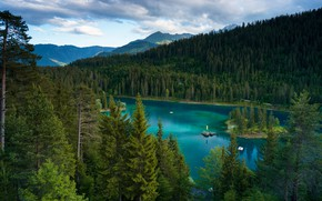 Picture forest, clouds, mountains, lake, shore, view, ate, island, turquoise water