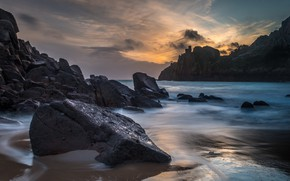 Picture sea, wave, the sky, clouds, landscape, nature, stones, rocks, shore, the evening, Normandy, Channel Islands, …
