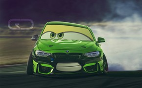 Picture Auto, BMW, Green, Machine, Smile, Eyes, Art, Cars, Art, Smile, Cars, BMW M3, Christer Stormark, …