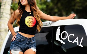Picture sexy, smile, model, shorts, portrait, makeup, Mike, figure, hairstyle, brown hair, beauty, is, car, posing, …