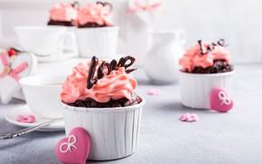 Picture hearts, decoration, cream, dessert, cupcakes, cupcakes, Iryna Melnyk