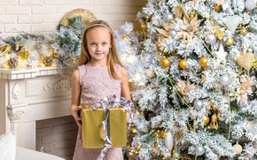 Picture holiday, gift, toys, tree, dress, girl, New year