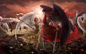 Picture blood, angels, the battlefield