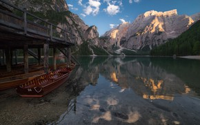 Picture landscape, mountains, nature, lake, reflection, boats, Italy, South Tyrol, The Dolomites, The lake of Braies, …