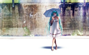 Picture the sun, umbrella, dress, hatsune miku, wokada