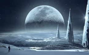 Picture winter, forest, the sky, space, stars, light, snow, night, rendering, fantasy, fiction, rocks, hills, the …