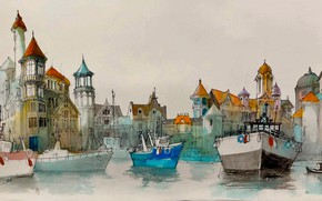 Picture the city, watercolor, harbour, boats, Jean Paul Schifrine