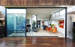 Picture interior, kitchen, living room, Australia, dining room, Malvern House, by Jost Architects, Malvern