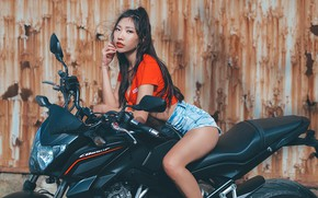 Picture look, sexy, pose, model, shorts, portrait, makeup, figure, brunette, hairstyle, motorcycle, topic, bike, legs, Asian, …