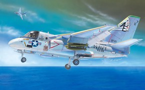 Picture sea, the plane, figure, pair, chassis, Lockheed, deck, anti-submarine, Viking, S-3, US Navy
