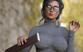 Picture girl, background, glasses
