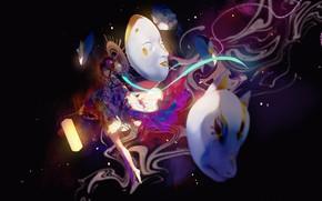 Picture girl, lantern, mask