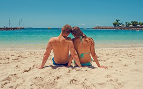 Picture sea, beach, girl, shore, pair, male, lovers