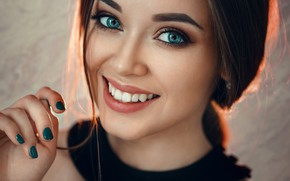 Wallpaper look, close-up, face, smile, model, hand, portrait, makeup, hairstyle, brown hair, beauty, bokeh, manicure, Evgeny ...