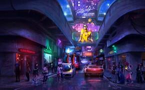 Picture sci-fi, neon, cyberpunk, dystopia, artwork, hong kong