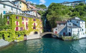 Picture bridge, lake, home, Italy, Como, Nesso