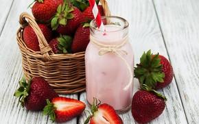 Picture berries, bottle, strawberry, yogurt, basket, Olena Rudo