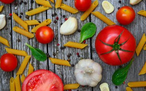 Picture background, pepper, Tomatoes, garlic, Pasta