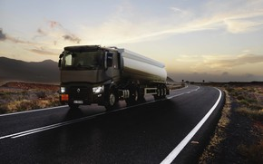 Picture road, truck, Renault, brown, tractor, tank, 4x2, the trailer, Renault Trucks, T-series