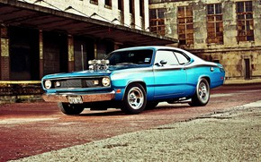 Picture Muscle, Dodge, Car, Blue, Coupe, Engine, Mopar, Demon, Dodge Demon