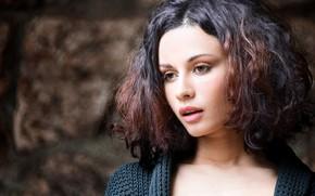 Picture background, model, portrait, makeup, brunette, hairstyle, beauty, bokeh, Javier Ullastres, Anastasia Platonova