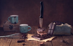 Picture chocolate, knife, mugs, still life, whisk