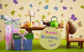 Picture macro, butterfly, table, room, birthday, holiday, the inscription, Wallpaper, food, snail, round, kettle, the tea …