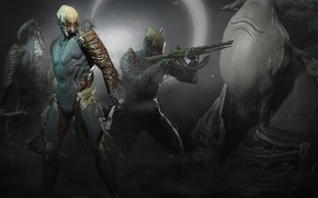 Picture weapons, collage, the game, warrior, armor, character, Warframe