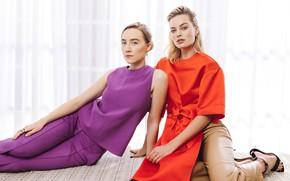 Picture look, pose, girls, makeup, beauty, actress, Saoirse Ronan, Margot Robbie