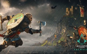 Picture The game, Armor, Rain, Clothing, Weapons, Shields, Characters, Axes, Assassin's creed Valhalla
