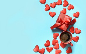 Picture background, gift, blue, hearts, Valentine's Day