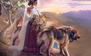 Picture Sunset, Girl, Dog, Figure, Style, Dress, Dogs, by Kaloyan Stoyanov, Kaloyan Stoyanov, Тhe guardians of …