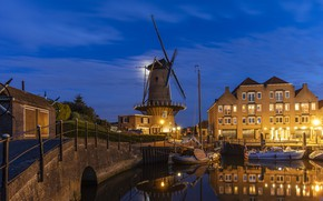 Picture night, bridge, the city, building, home, boats, lighting, mill, Netherlands, harbour, Willemstad