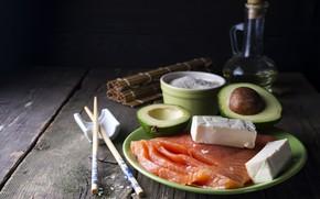 Picture fish, cheese, figure, avocado, salmon