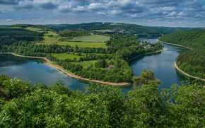 Picture forest, trees, lake, panorama, Luxembourg, Luxembourg, reservoir, Lake Haute-Sûre, The national Park of Haute-Sûre, Upper …
