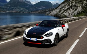 Picture the fence, Roadster, spider, black and white, double, Abarth, 2016, 124 Spider