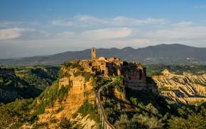 Picture mountains, tower, village, Italy, Civita di Bagnoregio, Viterbo