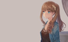 Picture girl, background, anime, art, hairstyle