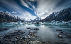 Picture mountains, lake, ice