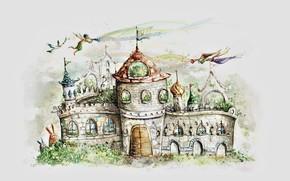 Picture castle, figure, tale, gate, flag, elves, grey background, spires, castle, white dove, eared, baths