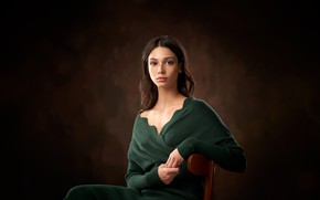 Picture look, pose, background, model, portrait, makeup, hairstyle, brown hair, sitting, on the chair, Alexander Vinogradov, …