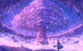 Picture cat, girl, tree, fantasy, flowering, продлом