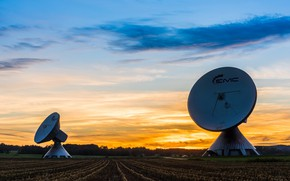Picture field, forest, the sky, clouds, landscape, sunset, two, antenna, the evening, hi-tech, hi-tech, parabolic antenna, …