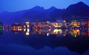 Picture forest, landscape, mountains, lights, river, shore, home, the evening, Vietnam, Lao Cai, Sa Pa District