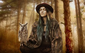 Picture forest, girl, style, owl, bird, treatment, fantasy, art, hunter