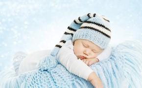 Picture sleep, boy, sleeping, plaid, basket, cap