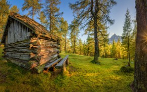 Picture autumn, the sun, trees, nature, house, Stefan Thaler
