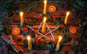Picture branches, berries, star, candles, cinnamon, wreath, bumps, Winter solstice