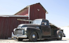 Picture the building, 150, the barn, pickup, 2018, GMC, 1949, ICON, Long Bed Derelict, GMC 150